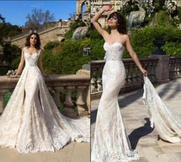 $enCountryForm.capitalKeyWord NZ - 2019 Delicate French Lace Vestido De Novia Mermaid Wedding Dresses with Detachable Train straps Sweetheart Vintage Robe de mariage