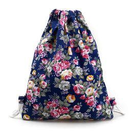 Wholesale String Pack Australia - Beat Deal New Maison Fabre Good Quality Floral Print Canvas Handbag Drawstring Pack Bag 1PC