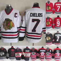 76e65c08532 Chicago Blackhawks Jersey 8 Bill Mosienko 7 Chris Chelios 10 Patrick Sharp 9  Bobby Hull Hockey Jersey Red White Black Fast Shipping