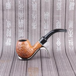 carving resin Australia - Large carved resin pipe with long and false direct-selling carved pattern and free-form detachable bending pipe