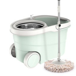 Plastic flow online shopping - Stainless Steel Rotate Mop Bucket Double Drive Hands Free Household Restaurant CafÉ Hotel Mops Colorful Telescopic hdr A1