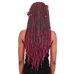 crochet hairstyles UK - 18Inch 30Strands 75Gram Pack Senegalese Twist Hair Crochet Braids Hairstyles Crochet Twist Synthetic Braiding Hair Extensions