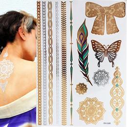 Gold Body Art Tattoo Australia - Flash Boho Metallic Gold Flash Colorful Waterproof Temporary Tattoo Silver Butterfly Feather Henna For Body Art