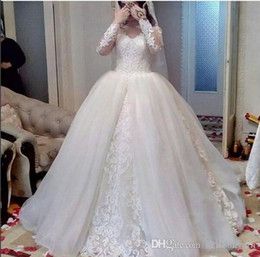 Wholesale white sexy dresses uk resale online – White Lace Ball Gown Long Sleeve Modest Wedding Dresses Empire Waist plus size Wedding Gowns UK D Flowers Sleeves