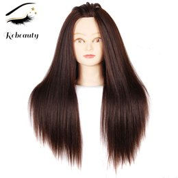 practice hair head 2018 - Rebeauty Hair 22 Inch Brown Yaki Synthetic Hair Color #4 Training Head Mannequin Training Practice Head Cosmetology Mani