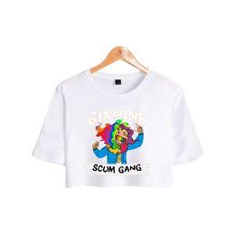 $enCountryForm.capitalKeyWord Australia - BTS 6ix9ine Fashion Rapper Printed Women Crop Tops Summer Short Sleeve Casual Tshirts 2018 Casual Girls Hip Hop Sexy Tee Shirts