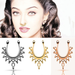 Nose Fashion NZ - Fashion Dainty Beads C Clip Nose Fake Piercing Jewelry Gold Silver Nose Ring Septum Ring Elegant Women Body Jewelry
