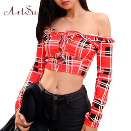 T-shirts Women's Clothing Lower Price with Nclagen 2019 Spring Women Sexy Plaid T Shirts Bustier Ruffles Off Shoulder Bandage Lace Up T Shirt Navel Bare Cropped Tops Tees