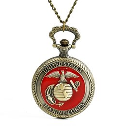 $enCountryForm.capitalKeyWord NZ - Big United States MARINE CORPS retro Pocket Watches Men Vintage Style Fob Watch Necklace Pendant Bronze Timepieces Male Clock