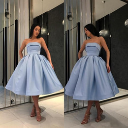 $enCountryForm.capitalKeyWord Australia - Hot Light Blue Short Prom dresses For Girls 2019 Simple Under 100 Formal Gowns Strapless Satin ball Gown Party Homecoming Cocktail Dress