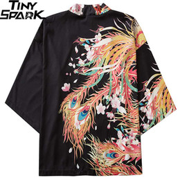 phoenix clothes 2020 - Japanese Kimono Jacket Colorful Phoenix Print Harajuku 2020 Hip Hop Men Japan Streetwear Jacket Summer Thin Clothes Loos