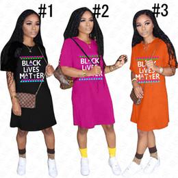 Wholesale bohemian t shirts for for sale – custom 2020 BLACK LIVES MATTER Oversize T shirt Designer Dress for Women Lady Summer Loose Letters Prining Dresses Casual Sport Beach Cloth D61803
