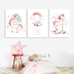 $enCountryForm.capitalKeyWord Australia - Baby Girl Unicorn Baby Room Decor Nordic Poster Wall Pictures Cartoon Kids Wall Art Canvas Painting Nursery Posters And Prints