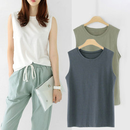 $enCountryForm.capitalKeyWord Australia - New Fashion Women Sleeveless T-shirt Female Girls Loose 95% Pure Cotton Solid Color Spring Autumn O-neck Vest Tank Tops Camis MX190724
