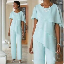 China 2019 New Mother of the Bride Dresses Pant Suits Wedding Guest Dress Silk Chiffon Short Sleeve Tiered Mother of Bride Pant Suits cheap strapped silk wedding dress suppliers