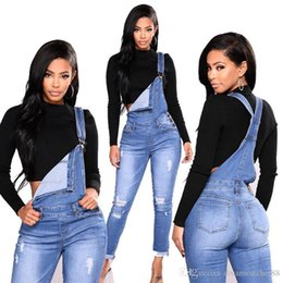 Overall style wOmen online shopping - Fashionable Long Ripped Women s Overalls with Holes Stretch Denim Jeans Jumpsuits Skinny Slim Girl Pants Affordable K