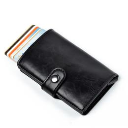 Smart Card Wallet UK - Black Smart Card Holder Wallet Men Slim Wallets Male Money Bag Short Purse Fashion 2018 Small Black Hasp Mini Wallets