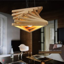 fluorescent light for restaurants Canada - Designer Decorative Pendant Lights Creative Wooden Hanging Lamp Timber E27 Holder Fixture For Restaurant Cafe Bar Counter Foyer Dynasty