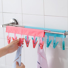 travel shirts NZ - Travel Essentials Bathroom Racks Cloth Hanger Clothespin Travel Portable Folding Cloth Socks Drying Hanger with 6 Clips for Bathroom