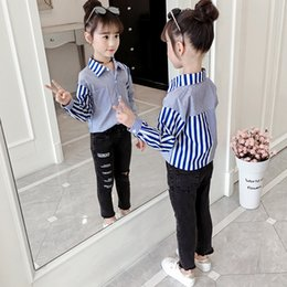 tops school girls NZ - School Clothing Red Blue Striped Patchwork Blouse For Girl Big Children Girl Tops Blouses And Shirts Shirt Long Sleeve