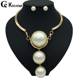 Fashionable Necklace Beads Australia - Dubai gold beads wedding jewelry sets, African bride necklace, fashionable Europe exaggerated style big pearl sweater chain