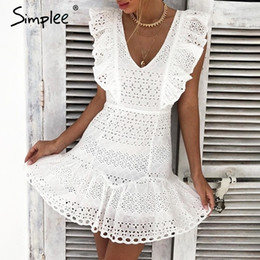 09f180aecf Simplee Elegant Cotton Embroidery Women Summer Dress Ruffled High Waist  Korean White Dress Vintage Sexy V-neck Party Mini Dress Y19050805