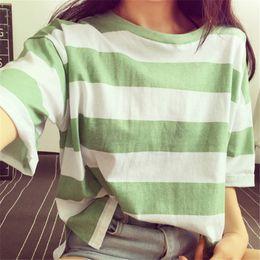 Wholesale plain slim fit t shirt for sale – custom Striped Short Sleeve Simple Plain T shirt Women Loose Slim Fit Basic Tops Female Casual Base Tee Shirt Tops