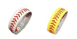 stitch bracelet 2019 - softball baseball sport bracelet- actual baseball leather bracelet ,Yellow softball leather with red seams stitching