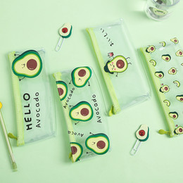 plastic school box wholesale UK - Pencil Case Avocado School Pencil Box Pencilcase Pencil Bag School Supplies Stationery