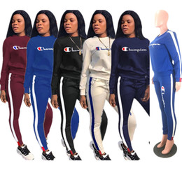 Girls set strip online shopping - Brand Champion Women Tracksuit Autumn Round Neck Hoodie and Stripped Pants piece Set luxury Designer Pullover Outfit Sportswear C8207