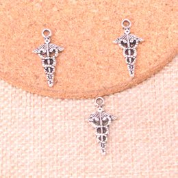 Silver Charm Medical Australia - 160pcs Charms caduceus medical symbol md Antique Silver Plated Pendants Fit Jewelry Making Findings Accessories 23*11mm