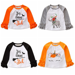 Brands t shirts Boys online shopping - Ins hot sell ruffle long sleeve children T shirt Pumpkin letters printed baby girls autumn fall tshirt kids halloween tops