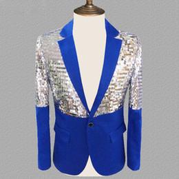 $enCountryForm.capitalKeyWord Australia - Mens Royal Blue Sequin Patchwork Glitter Suit Jacket Nightclub DJ Prom Blazer Male Wedding Stage Clothing for Men
