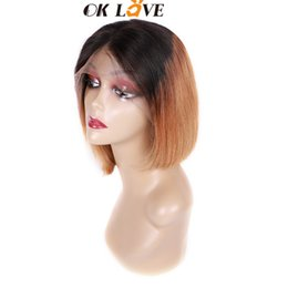 $enCountryForm.capitalKeyWord Australia - OKLove Straight Short Bobo Human Hair Wigs Ombre 1b 30 8-18 Inch Lace Front Wigs Pre-plucked With Baby Hair For Black Women