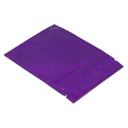 $enCountryForm.capitalKeyWord Australia - 100pcs 8.5*13cm purple zip lock zipper candy package bags reusable aluminum foil package gift storage bag plastic moisture proof snacks bags
