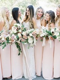 jewel spring Australia - 2019 Jewel Column Long Bridesmaids Dreses Sweep Train Spring Custom Vestidos De Bridesmaid Prom Party Gowns Honor Of Maid Simple Cheap