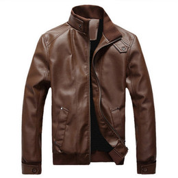 Wholesale mens leather jacket brands for sale – winter 2019 Men s Leather Jackets Motorcycle Windbreaker Male Spring Autumn Winter Casual Coats Slim Mens Brand Clothing Plus size