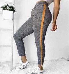 d47977ed5a3cb2 2019 New women's houndstooth lattice natural waist pencil pants sports  casual pants Slim side plaid print collage trousers