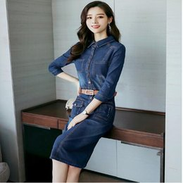 vestidos blue jeans NZ - New Work OL Ladies Slim Denim Dress Women Long Sleeve Jean Dress Autumn Vintage Pockets Mid-Calf Vestidos Female