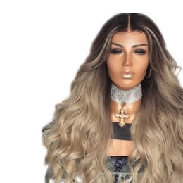 $enCountryForm.capitalKeyWord UK - Blonde Ombre Synthetic Wig For Women Cheap Glueless Black To Blonde Two Tones Ombre Synthetic Wigs Heat Resistant Fiber No Lace Front