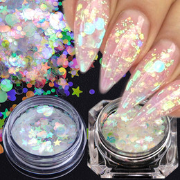 decor glitter NZ - 2 Color Chameleon AB Shiny Nail Art Glitter Sequins Heart Star Round Nail Bling Nail Flake 3D DIY Manicure Decor