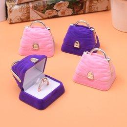 $enCountryForm.capitalKeyWord NZ - [DDisplay] Velvet Handbag Shape Ring Pink Jewelry Box Lovely Necklace Jewelry Standing Holder Creative Earring Studs Purple Jewelry Case
