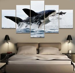 Decorative Canvas Print Art Australia - Wall Art Abstract 5 Panel Animal Dolphin Landscape Canvas Painting Frame Decorative Picture For Living Room Bedroom Prints