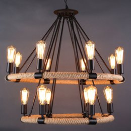 $enCountryForm.capitalKeyWord Australia - ndustial Loft Retro pendant lamp Hemp Rope Pendant Light Edison staircase Suspension For Parlor Bar Store Home Lighting E030
