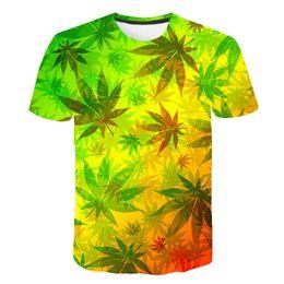 Discount men floral t shirt wholesale - Leaf T Shirt Summer Short Sleeve Men Women 3D T-shirts Funny Streetwear Camisetas Tee Shirt Homme De Marque 2019 Flower