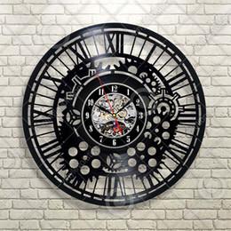 $enCountryForm.capitalKeyWord Australia - Abstraction Gears Decor Silent Black Quartz Wall Clock Made of Vinyl Record Home Decor Handmade Art Personality Gift (Size: 12 inches, Colo
