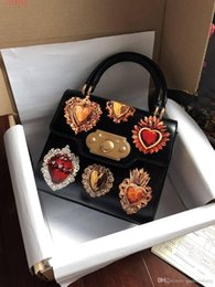 female leather doctors bag Australia - Women reusable handbags 2019 New heart embroidery fashion printed calfskin totes Brand Designer Women Female shoulder bag with box dust bag.