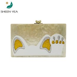 ladies new stylish wallet 2019 - Stylish new acrylic clutch purse cute cat handbag animal prints patchwork causal wallet ladies messenger bag party shoul
