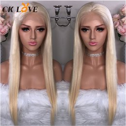 Silky Straight Blonde Wig Australia - OKLove #613 Blonde Lace Front Human Hair Wigs Silky Straight Brazilian Remy Human Hair Pre-plucked Hairline Bleached Knots Hair Wigs
