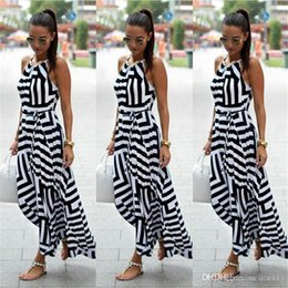 Wholesale casual mermaid style dress for sale – plus size Summer Dress Women Sexy Boho Striped Sleeveless Maxi Long Dress Beach Style Strap Sundress Vestidos For Female